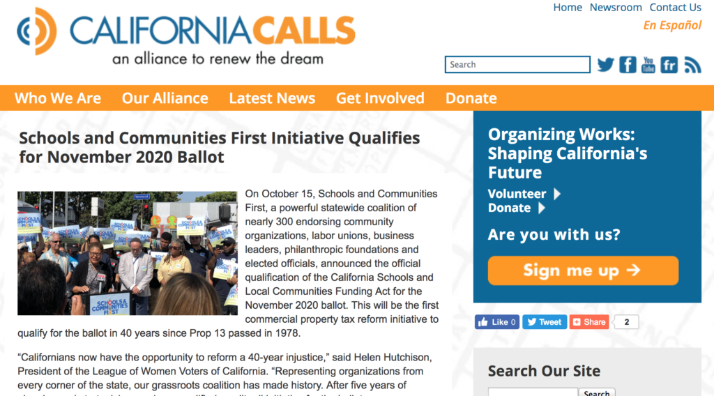 CA Calls is a statewide coalition of nearly 300 endorsing community organizations...