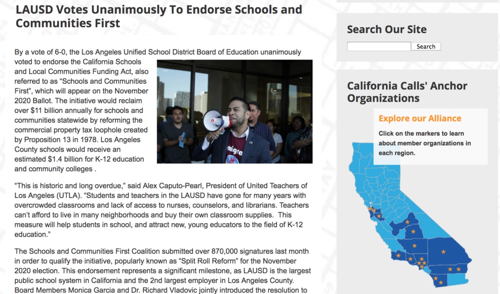 CA Calls member organizations in the Bay Area and Southern CA.